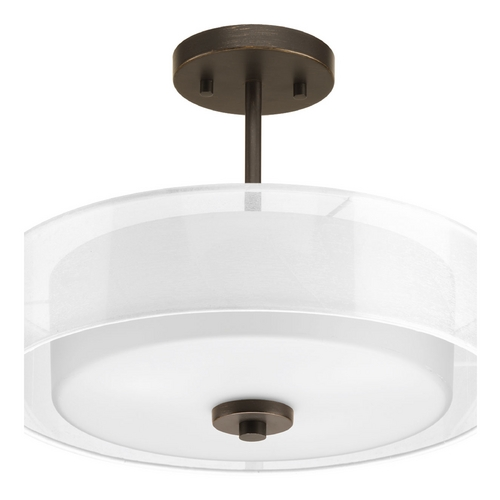 Progress Lighting Semi-Flushmount Light with White Glass in Antique Bronze Finish P3694-20
