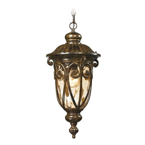 Elk Lighting Outdoor Hanging Light with Beige / Cream Glass in Hazelnut Bronze Finish 45074/1