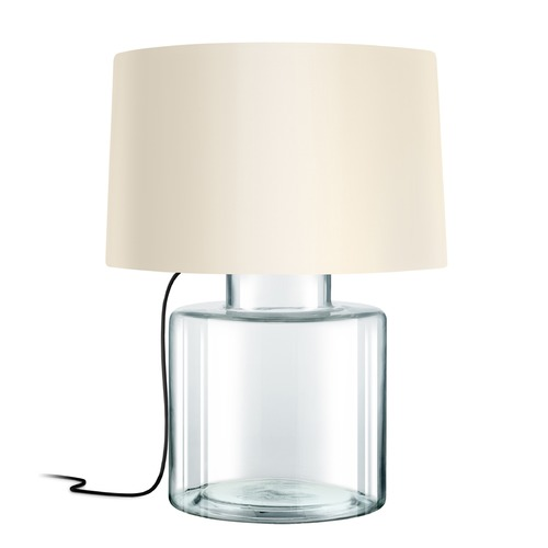 Sonneman Lighting Sonneman Grasso Clear Glass W/ Black Silk 1 Light Table Lamp with Drum Shade 4770.87K