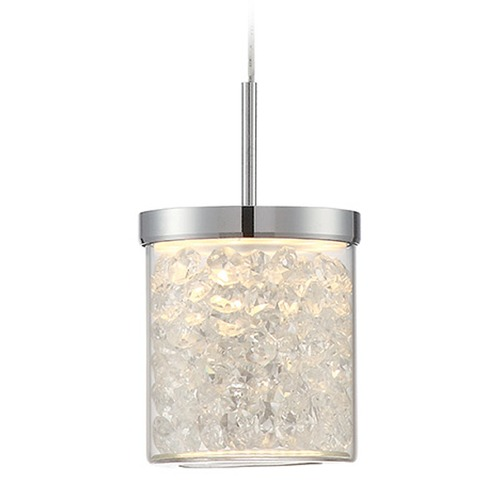 Lite Source Lighting Lite Source Chrome LED Mini-Pendant Light with Cylindrical Shade LS-19581