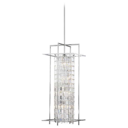 Matteo Lighting Matteo Lighting Crystal Fiodo Lanterns Chrome Pendant Light with Cylindrical Shade C47008CH