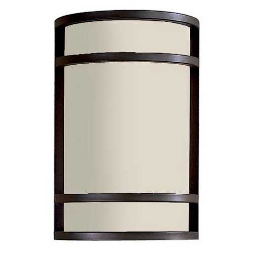 Minka Lavery Modern Outdoor Wall Light with White Glass in Oil Rubbed Bronze Finish 9802-143-PL