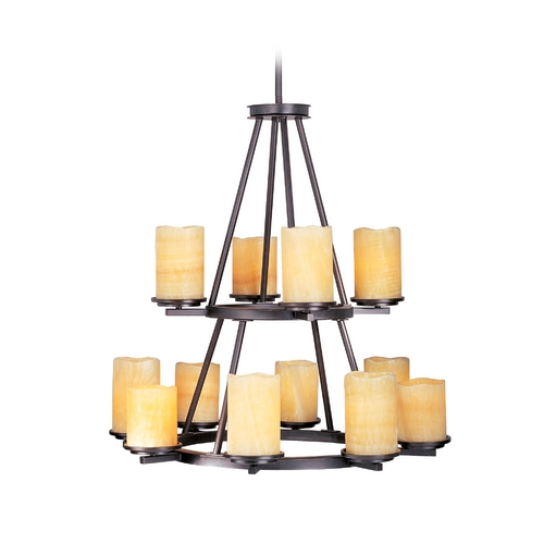 Maxim Lighting Chandelier with Beige / Cream Glass in Rustic Ebony Finish 21147SCRE