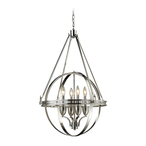 Elk Lighting Modern Pendant Light in Polished Nickel Finish 10192/4