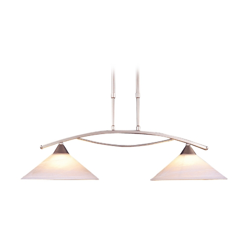 Elk Lighting Modern Island Light with White Glass in Satin Nickel Finish 6501/2