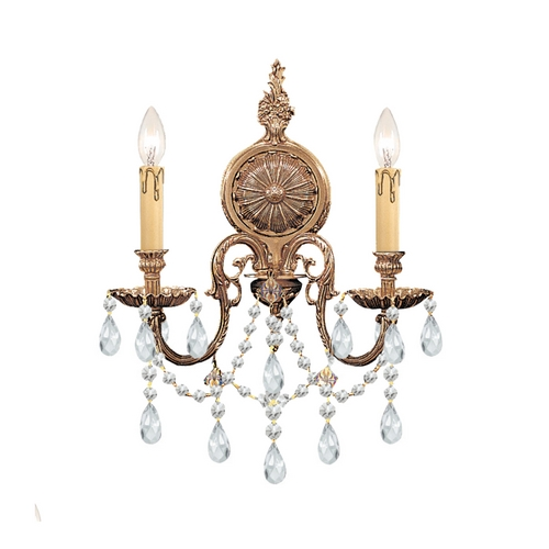 Crystorama Lighting Crystal Sconce Wall Light in Olde Brass Finish 2702-OB-CL-MWP