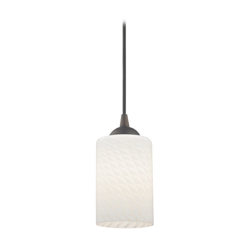 Design Classics Lighting Art Glass Mini-Pendant Light with White Cylinder Shade 582-220 GL1020C