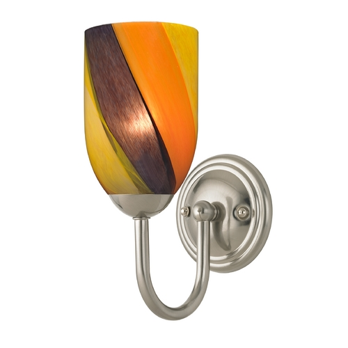 Design Classics Lighting Sconce with Art Glass in Satin Nickel Finish 593-09 GL1015D