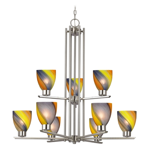 Design Classics Lighting Modern Chandelier with Multi-Color Glass in Satin Nickel Finish 1122-1-09 GL1015MB