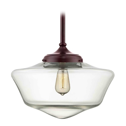 Design Classics Lighting 16-Inch Bronze Clear Glass Schoolhouse Pendant Light FA6-220 / GA16-CL