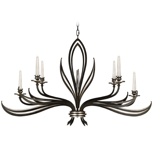 Fine Art Lamps Fine Art Lamps Villandry Black with Antique Silver Leaf Chandelier 815240-2ST