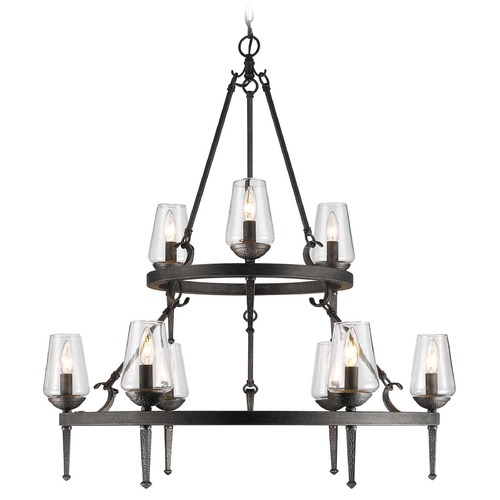 Golden Lighting Golden Lighting Marcellis Dark Natural Iron Chandelier 1208-9 DNI