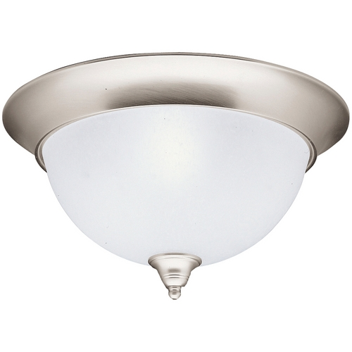 Kichler Lighting Kichler Flushmount Light with White Glass in Brushed Nickel Finish 8065NI