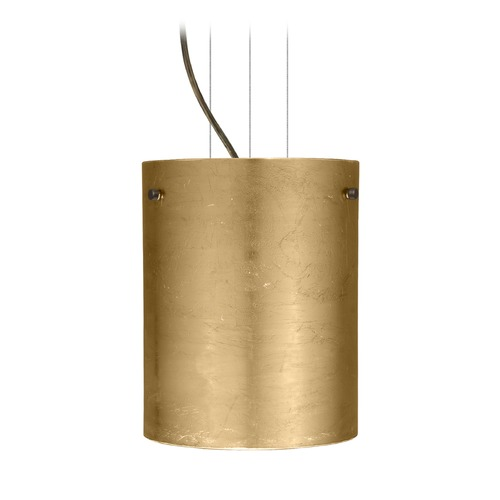Besa Lighting Besa Lighting Tamburo Bronze LED Mini-Pendant Light with Cylindrical Shade 1KG-4006GF-LED-BR