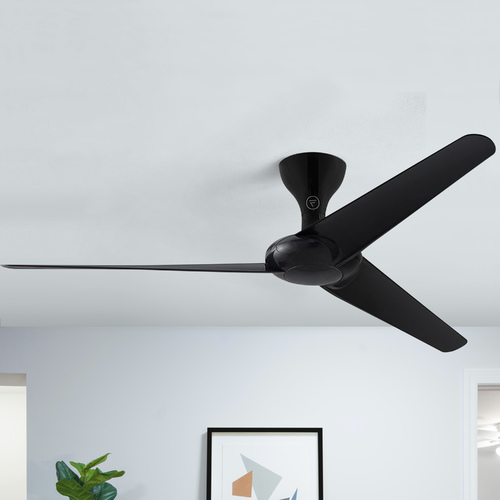 Fanimation Fans Fanimation Fans Drone Glossy Black Ceiling Fan Without Light FPD6235GBL