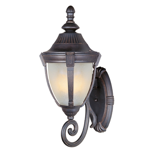 Maxim Lighting Outdoor Wall Light with White Glass in Empire Bronze Finish 4034MREB