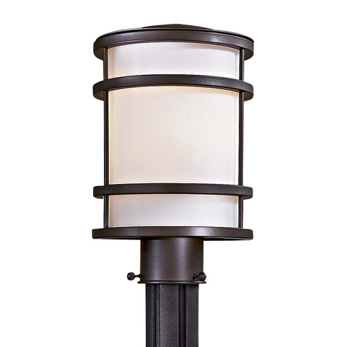 Minka Lavery Modern Post Light with White Glass in Oil Rubbed Bronze Finish 9806-143-PL