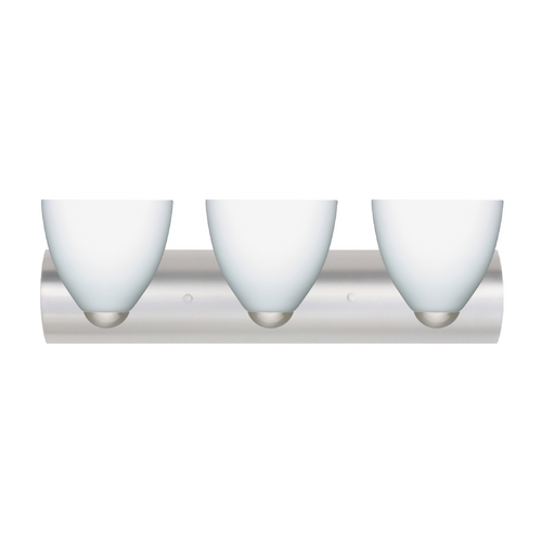Besa Lighting Modern Bathroom Light with White Glass in Satin Nickel Finish 3WZ-757207-SN
