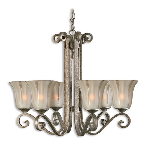 Uttermost Lighting Chandelier with Clear Glass in Mottled Silver Leaf Finish 21146