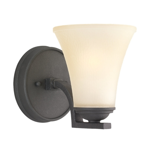 Sea Gull Lighting Sconce Wall Light with Beige / Cream Glass in Blacksmith Finish 41375-839