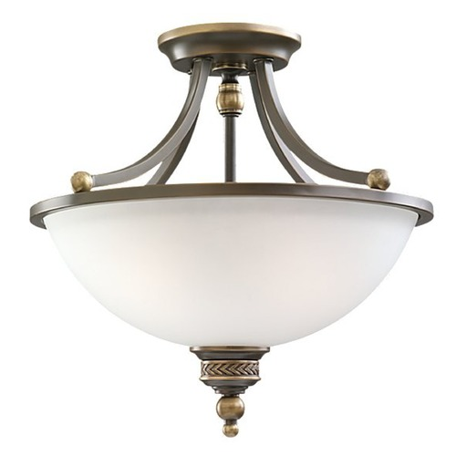 Sea Gull Lighting Semi-Flushmount Light with White Glass in Estate Bronze Finish 77350-708