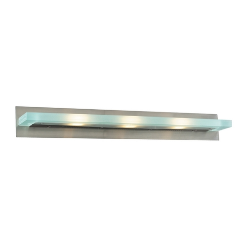PLC Lighting Modern Bathroom Light with White Glass in Satin Nickel Finish 1440 SN