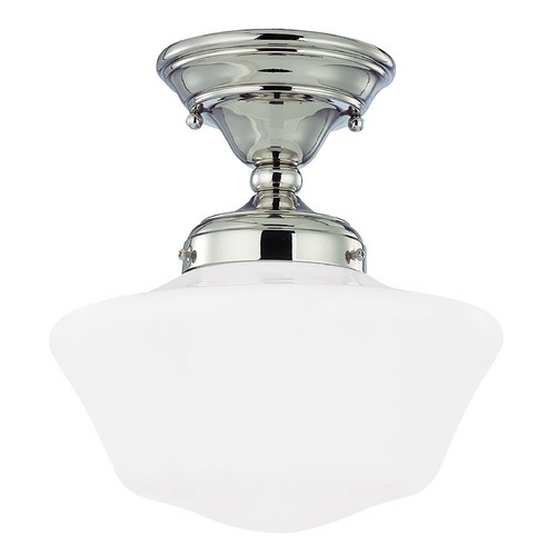 Design Classics Lighting 10-Inch Schoolhouse Semi-Flushmount Ceiling Light in Polished Nickel FAS-15 / GA10