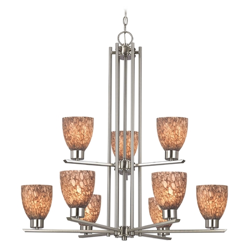 Design Classics Lighting Modern Chandelier with Brown Glass in Satin Nickel Finish 1122-1-09 GL1016MB