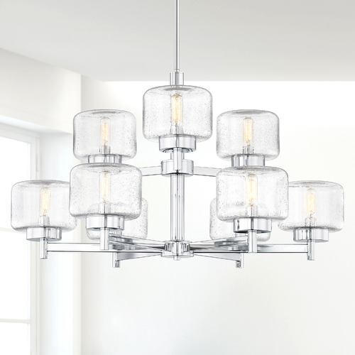 Design Classics Lighting Industrial Seeded Glass Chandelier Chrome 9-Lt Two Tier 2979-26
