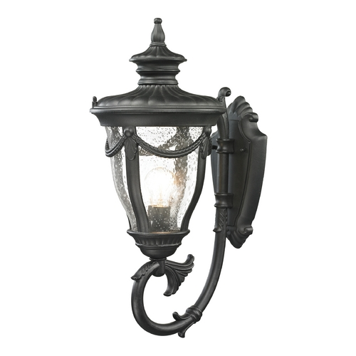 Elk Lighting Outdoor Wall Light with Clear Glass in Textured Matte Black Finish 45076/1