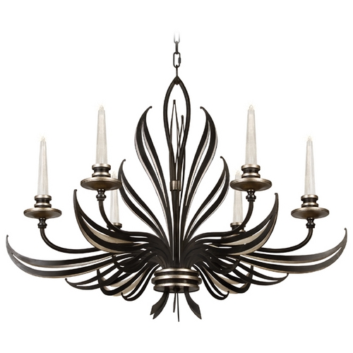 Fine Art Lamps Fine Art Lamps Villandry Black with Antique Silver Leaf Chandelier 815940-2ST
