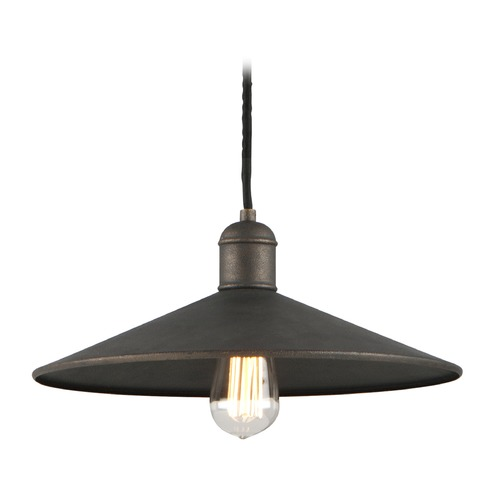 Troy Lighting Troy Lighting Mccoy Vintage Bronze Pendant Light with Coolie Shade F5422