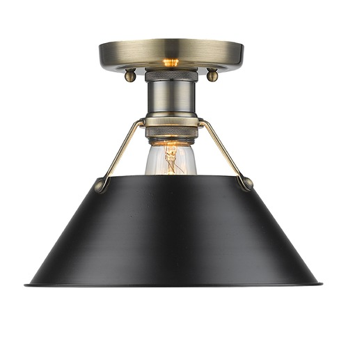 Golden Lighting Golden Lighting Orwell Ab Aged Brass Flushmount Light 3306-FM AB-BLK