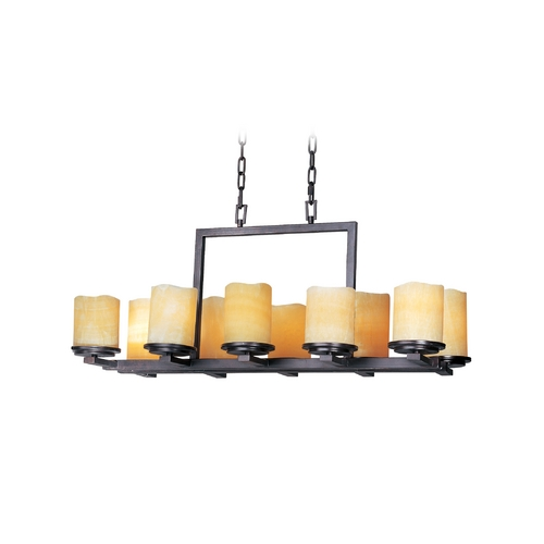 Maxim Lighting Chandelier with Cream Glass in Rustic Ebony Finish 21149SCRE