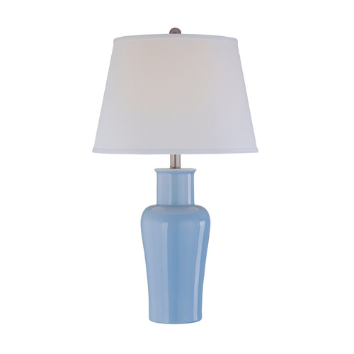 Lite Source Lighting Lite Source Lighting Evelia Light Blue Table Lamp with Drum Shade LS-21587L/BLU