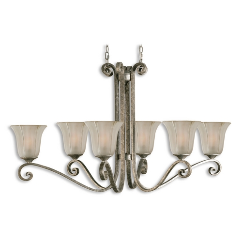 Uttermost Lighting Chandelier with Clear Glass in Mottled Silver Leaf Finish 21147