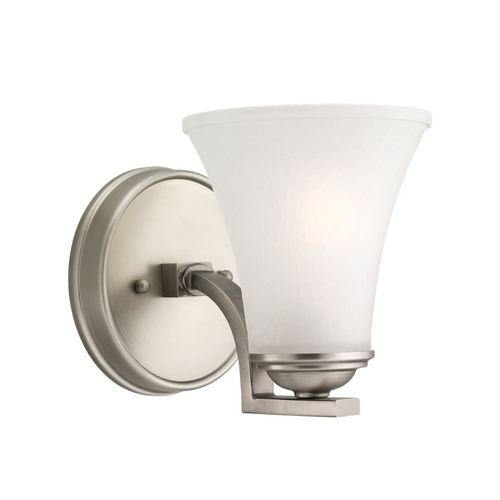 Sea Gull Lighting Sconce Wall Light with White Glass in Antique Brushed Nickel Finish 41375-965