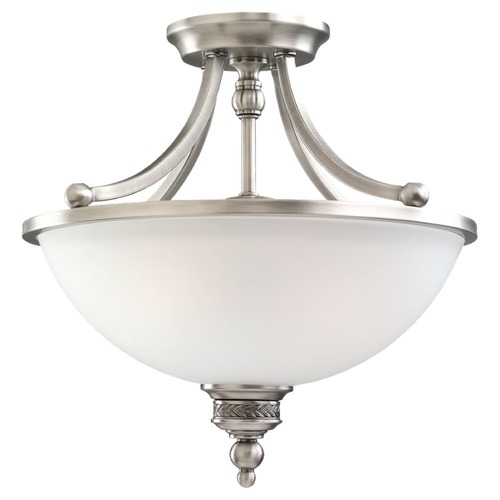 Sea Gull Lighting Semi-Flushmount Light with White Glass in Antique Brushed Nickel Finish 77350-965