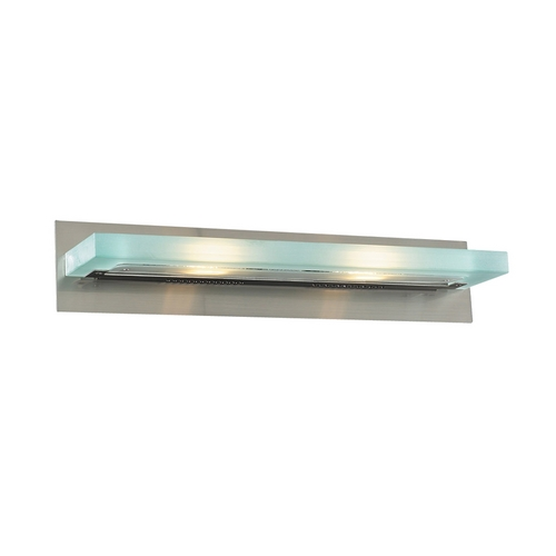 PLC Lighting Modern Bathroom Light with White Glass in Satin Nickel Finish 1430 SN