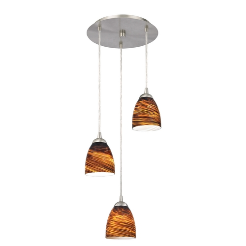 Design Classics Lighting Modern Multi-Light Pendant Light with Brown Art Glass and 3-Lights 583-09 GL1023MB