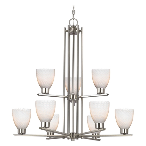 Design Classics Lighting Modern Chandelier with White Glass in Satin Nickel Finish 1122-1-09 GL1020MB