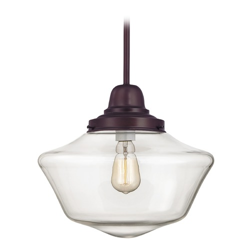 Design Classics Lighting 14-Inch Bronze Clear Glass Schoolhouse Pendant Light FB6-220 / GA14-CL
