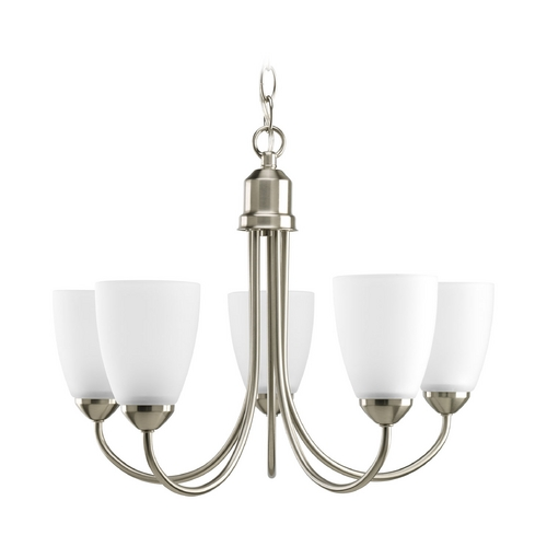 Progress Lighting Progress Chandelier with White Glass in Brushed Nickel Finish P4441-09EBWB