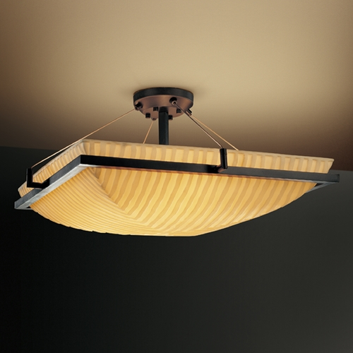 Justice Design Group Justice Design Group Porcelina Collection Semi-Flushmount Light PNA-9781-25-WFAL-DBRZ