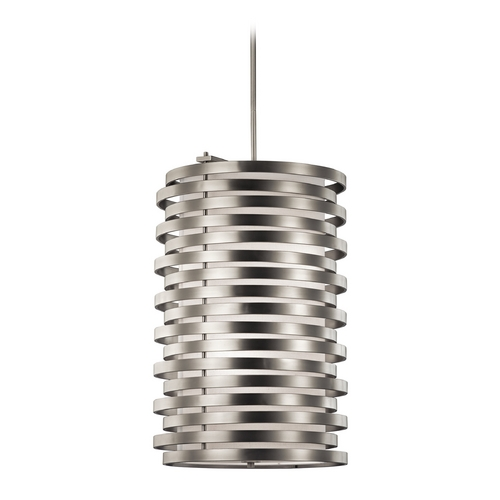Kichler Lighting Kichler Lighting Roswell Brushed Nickel Pendant Light with Cylindrical Shade 43306NI