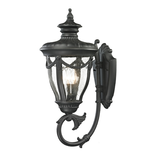 Elk Lighting Seeded Glass Outdoor Wall Light Black Elk Lighting 45077/3