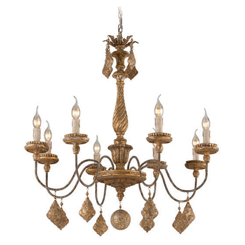 Troy Lighting Troy Lighting Calais Aged Wood with Distress Gold Leaf Chandelier F3997