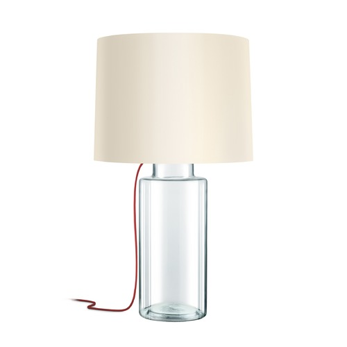 Sonneman Lighting Sonneman Vaso Clear Glass W/ Red Silk 1 Light Table Lamp with Drum Shade 4775.87R