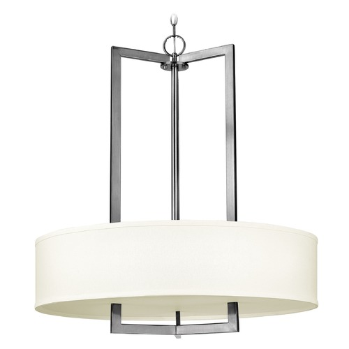 Hinkley Lighting Hinkley Lighting Hampton Antique Nickel Pendant Light with Drum Shade 3206AN-GU24