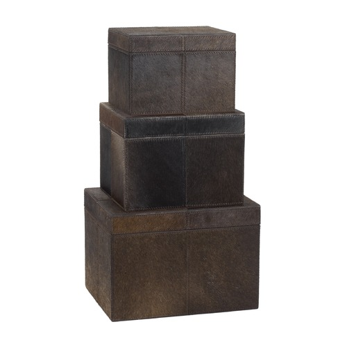 Dimond Lighting Nested Chestnut Faux Pony Boxes- Set Of 3 284054